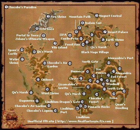 ff9世界地图英文版