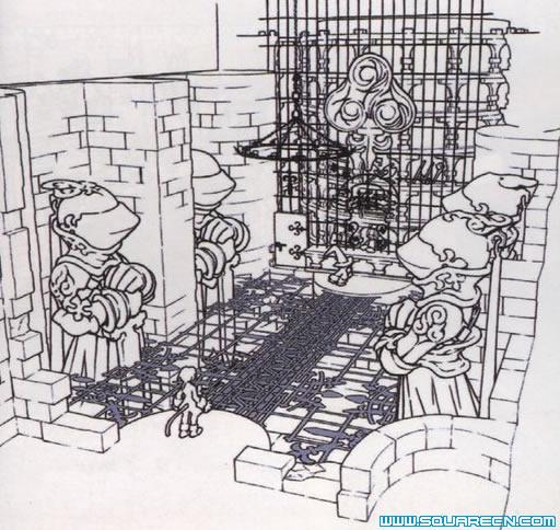 手绘黑白线条景观城堡